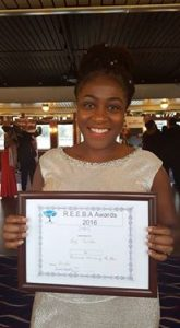 Winning a R.E.E.B.A 24th September 2016 Business Woman of the Year!